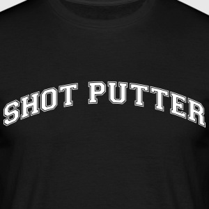 shot putter college style curved logo - Men's T-Shirt