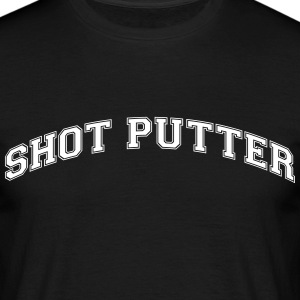 shot putter college style curved logo - Männer T-Shirt
