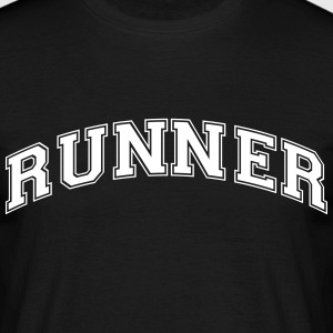 runner college style curved logo - Men's T-Shirt