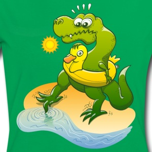 Tyrannosaurus Rex Dipping Toe in Sea Water T-Shirts - Women's Ringer T-Shirt