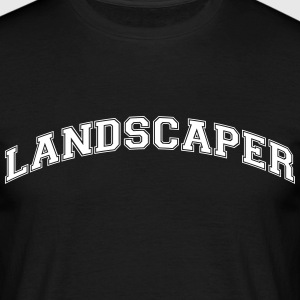 landscaper college style curved logo - Men's T-Shirt