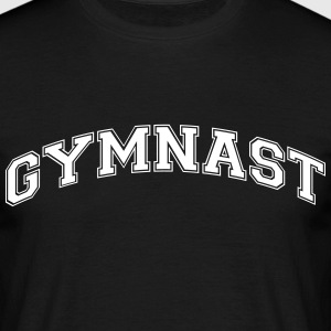 gymnast college style curved logo - Men's T-Shirt