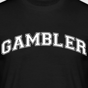 gambler college style curved logo - Men's T-Shirt