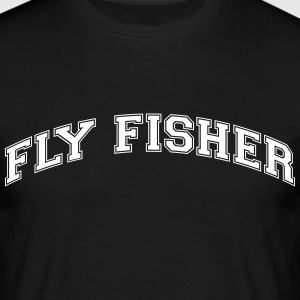 fly fisher college style curved logo - Men's T-Shirt
