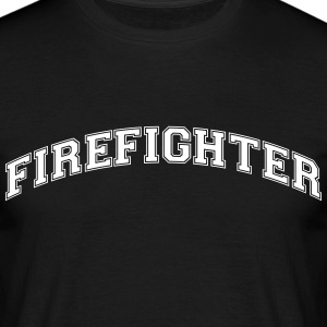firefighter college style curved logo - Men's T-Shirt