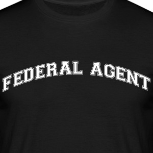 federal agent college style curved logo - Men's T-Shirt