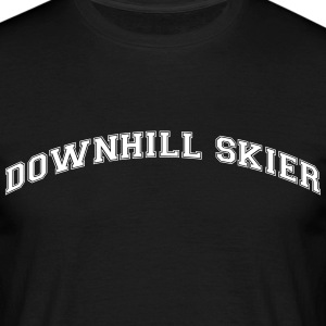 downhill skier college style curved logo - Männer T-Shirt