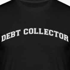 debt collector college style curved logo