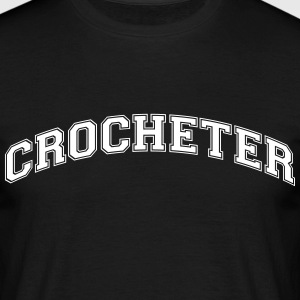 crocheter college style curved logo - Men's T-Shirt