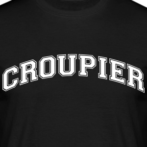 croupier college style curved logo - Men's T-Shirt