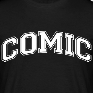 comic college style curved logo - Men's T-Shirt
