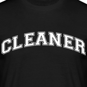 cleaner college style curved logo - Men's T-Shirt