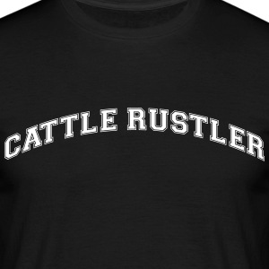 cattle rustler college style curved logo - Men's T-Shirt