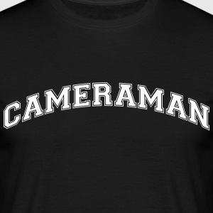 cameraman college style curved logo - Men's T-Shirt