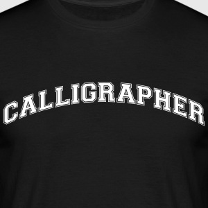 calligrapher college style curved logo - Men's T-Shirt