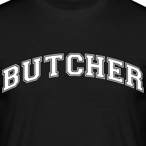 butcher college style curved logo - Men's T-Shirt