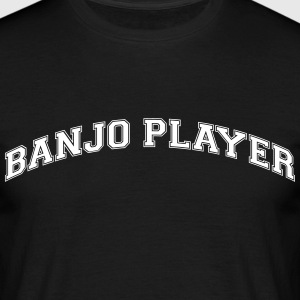 banjo player college style curved logo - Men's T-Shirt
