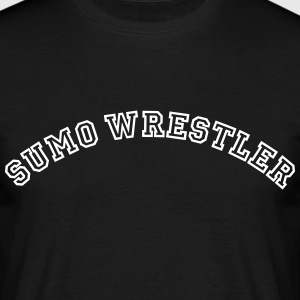 sumo wrestler curved college style logo - Men's T-Shirt