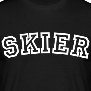 skier curved college style logo - Männer T-Shirt
