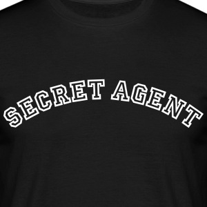 secret agent curved college style logo - Men's T-Shirt