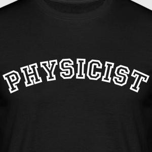 physicist curved college style logo - Men's T-Shirt
