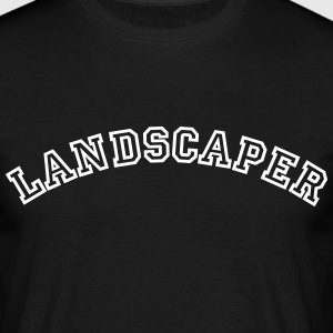 landscaper curved college style logo - Men's T-Shirt