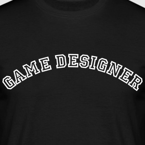 game designer curved college style logo - Men's T-Shirt