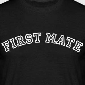 first mate curved college style logo - Men's T-Shirt
