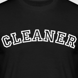 cleaner curved college style logo - Men's T-Shirt