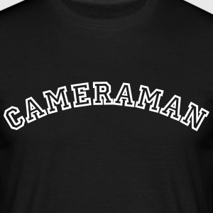 cameraman curved college style logo - Men's T-Shirt