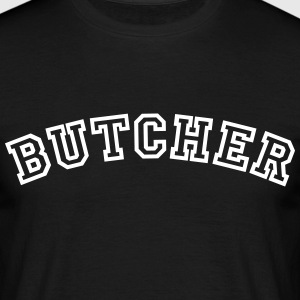 butcher curved college style logo - Men's T-Shirt