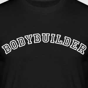 bodybuilder curved college style logo - Men's T-Shirt