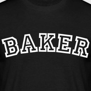 baker curved college style logo - Men's T-Shirt