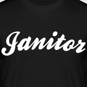 janitor cool curved logo - Men's T-Shirt