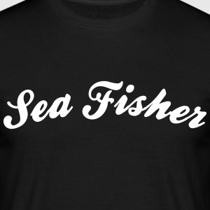 sea fisher cool curved logo - Men's T-Shirt