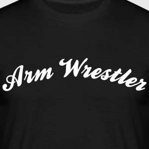 arm wrestler cool curved logo - Men's T-Shirt