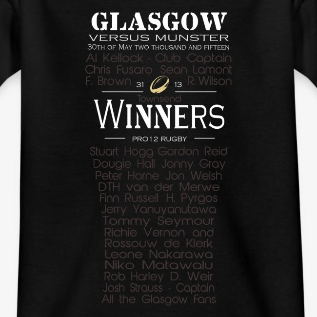 Glasgow PRO12 Winners Glass - KIDS