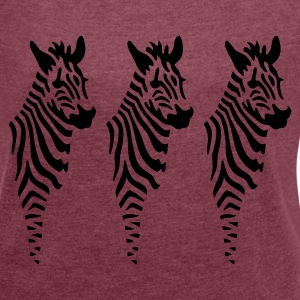 Zebras - Women's T-shirt with rolled up sleeves