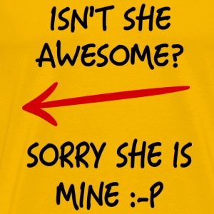 couple love awesome her - Men's Premium T-Shirt