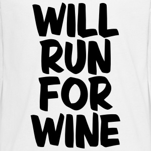 WILL RUN FOR WINE Langærmede shirts - Teenager premium T-shirt med lange ærmer