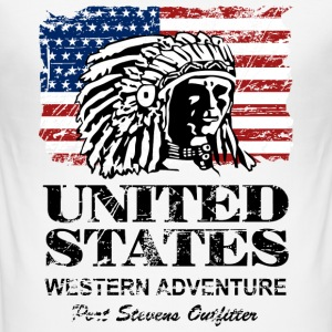 USA Flag - Indian Chief - Vintage Look Camisetas - Camiseta ajustada hombre