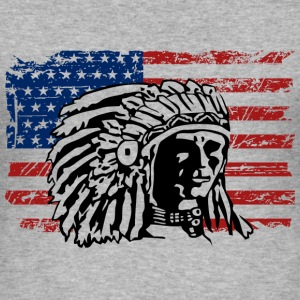 American Flag - Indian Chief - Vintage Look T-Shirts - Men's Slim Fit T-Shirt