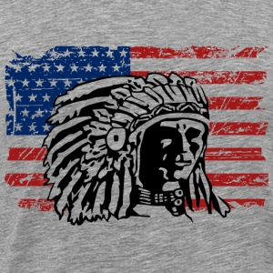 USA Flag - Indian Chief - Vintage Look T-shirts - Mannen Premium T-shirt