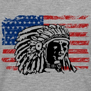 USA Flag - Indian Chief - Vintage Look Långärmade T-shirts - Långärmad premium-T-shirt herr