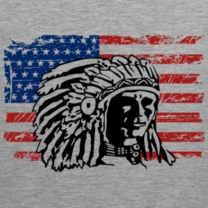 USA Flag - Indian Chief - Vintage Look Tank Tops - Men's Premium Tank Top