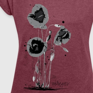 Poppies reloaded T-Shirts - Frauen T-Shirt mit gerollten Ärmeln