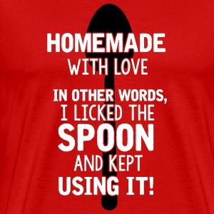 I licked the spoon with love - Cooking quote T-shirts - Premium-T-shirt herr