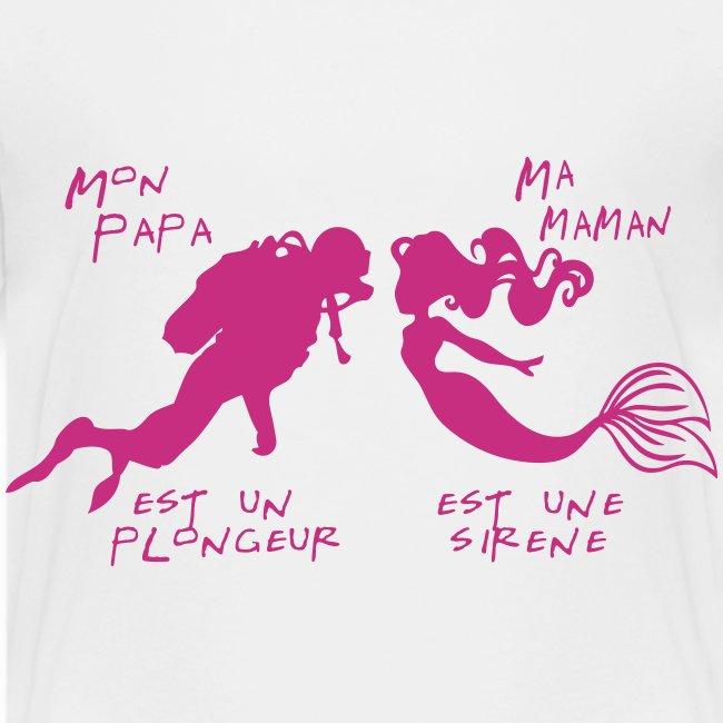Papa plongeur Maman sirène + logo - Enf - Imp Num