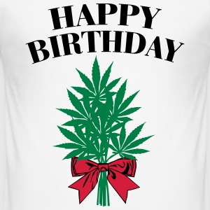 Cannabis - Happy Birthday  T-Shirts - Men's Slim Fit T-Shirt