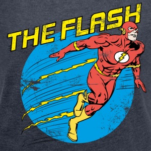 The Flash Comic Frauen T-Shirt - Frauen T-Shirt mit gerollten Ärmeln